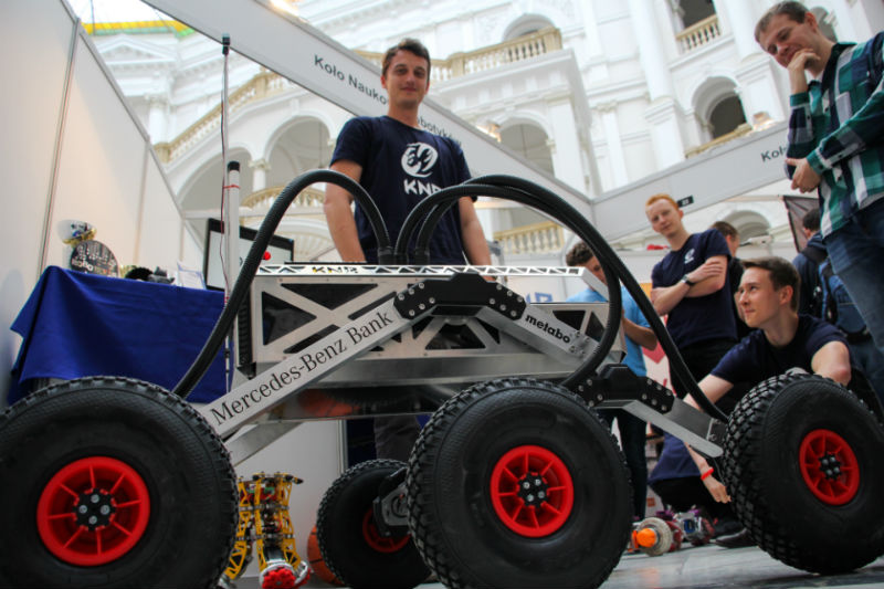 Students with a rover