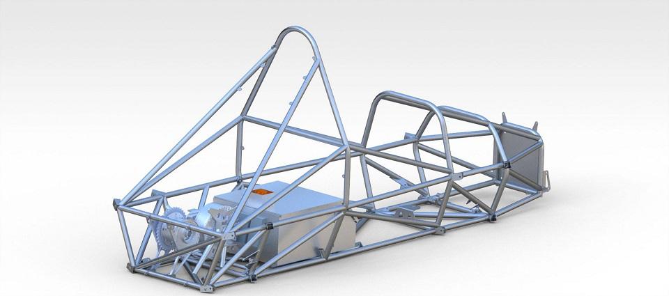 Projekt układu napędowego pojazdu elektrycznego wraz z pakietem baterii umieszczonym w stalowej ramie przestrzennej.